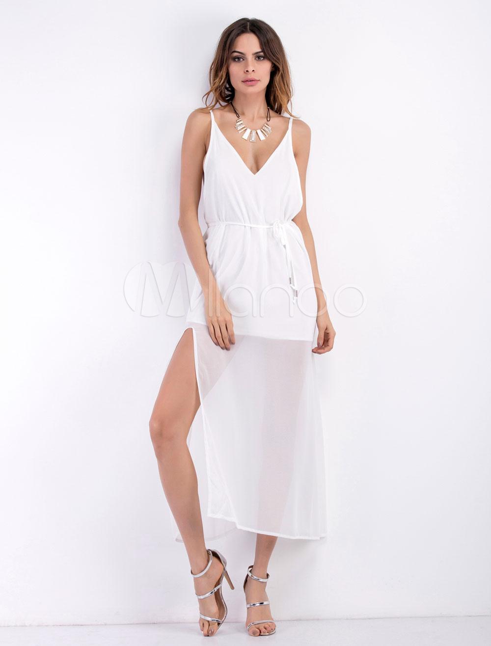 e494166056 ... Gasa V tiras blanco cuello sin mangas semi pura vestido largo para las.  12. -30%. color blanco