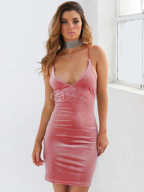Sexy Bodycon vestido terciopelo tiras sin mangas Cruz nuevo Slim ...
