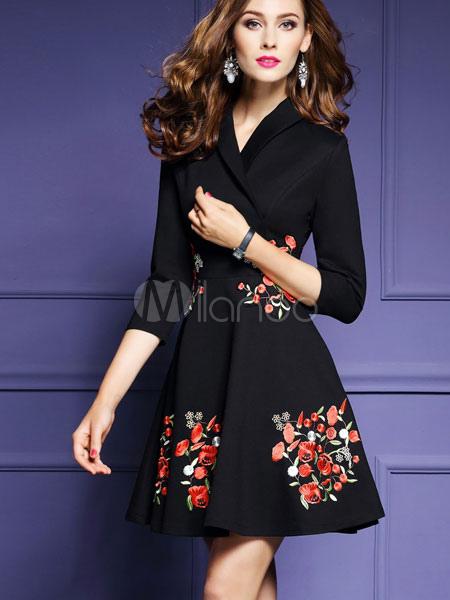save off 96736 fb610 V Neck Abito nero fiori ricamati donna manica 3/4 A linea Fit e Flare  vestito a pieghe