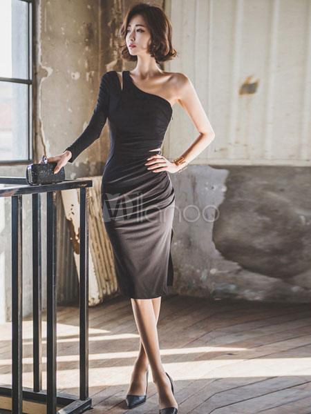 wholesale dealer 1eb80 99402 Vestito aderente nero monospalla manica lunga tagliato sottile guaina abito  adatto