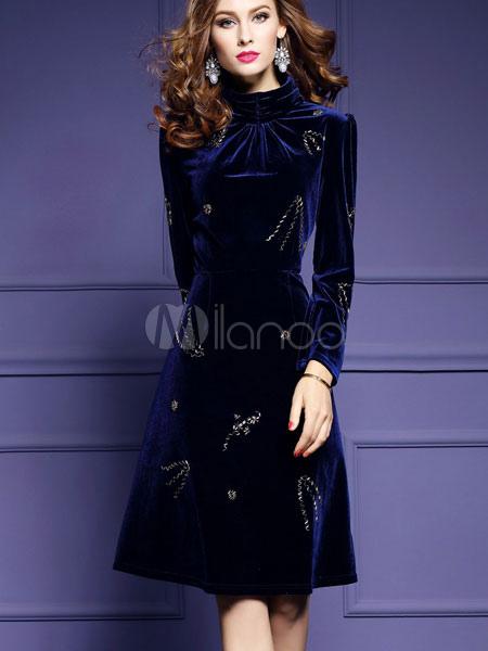 huge discount ac26d cff11 Collo alto maniche lunghe Abito velluto donna Midi blu profondo abito con  borchie
