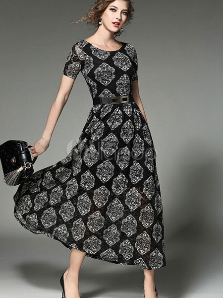 Black Maxi Dress Floral Printed Women's Short Sleeve Round Neck Pleated Long Dress With Belt