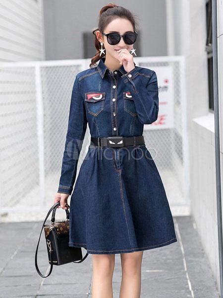 Denim camicia abito donna Fit Manica lunga blu profondo e Flare-vestito con  cintura- ... 779fab4e9e5