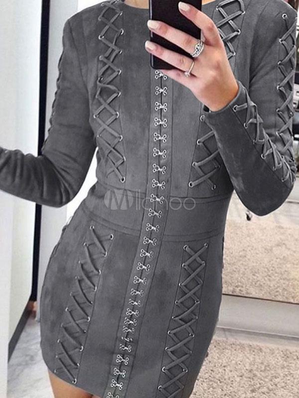 852649ed640a9b ... Graues Partykleid Rundhals Langarm Slim Fit figurbetonten Kleid für  Frauen-No.3 ...