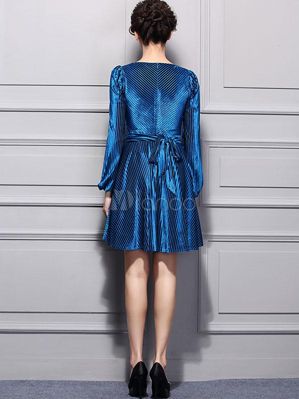 skater robe velours bleu roi v cou puff manches longues dentelle femmes robe pliss e flare. Black Bedroom Furniture Sets. Home Design Ideas