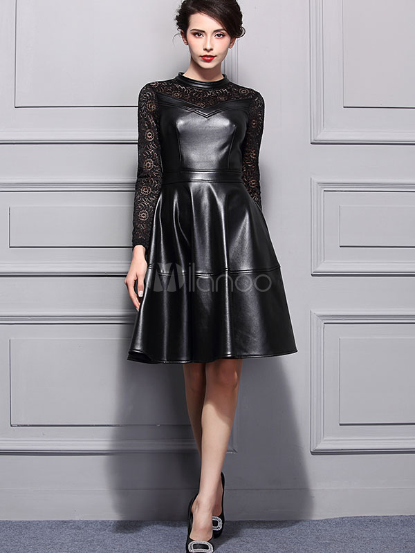 Buy Black Lace Dress Round Neck Long Sleeve Slim Fit Pleated Skater Dress for $51.83 in Milanoo store
