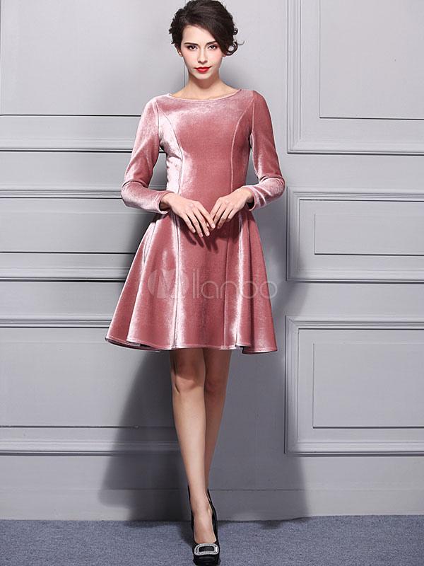68401e6fcf52c Skater rosa vestido terciopelo cuello manga larga Slim Fit llamarada  plisado vestido para las mujeres- ...