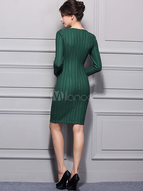Vestito Slim Pizzo Aderente Verde Scuro Lunga Fit Abito Manica Donna XOkiTwPZu