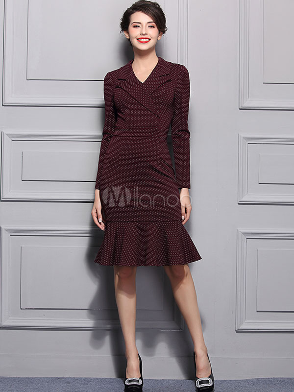 Milanoo / Mermaid Bodycon Dress Long Sleeve V Neck Women's Polka Dot Printed Ruffle Knee Length Dress