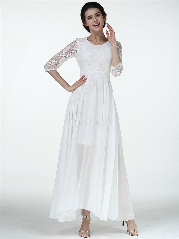 robe longue blanc en chiffon unicolore avec dentelle col. Black Bedroom Furniture Sets. Home Design Ideas