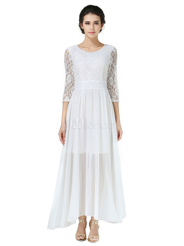 Buy Chiffon Maxi Dress White Round Neck 3/4 Length Sleeve Pleated Long Dress for $44.99 in Milanoo store
