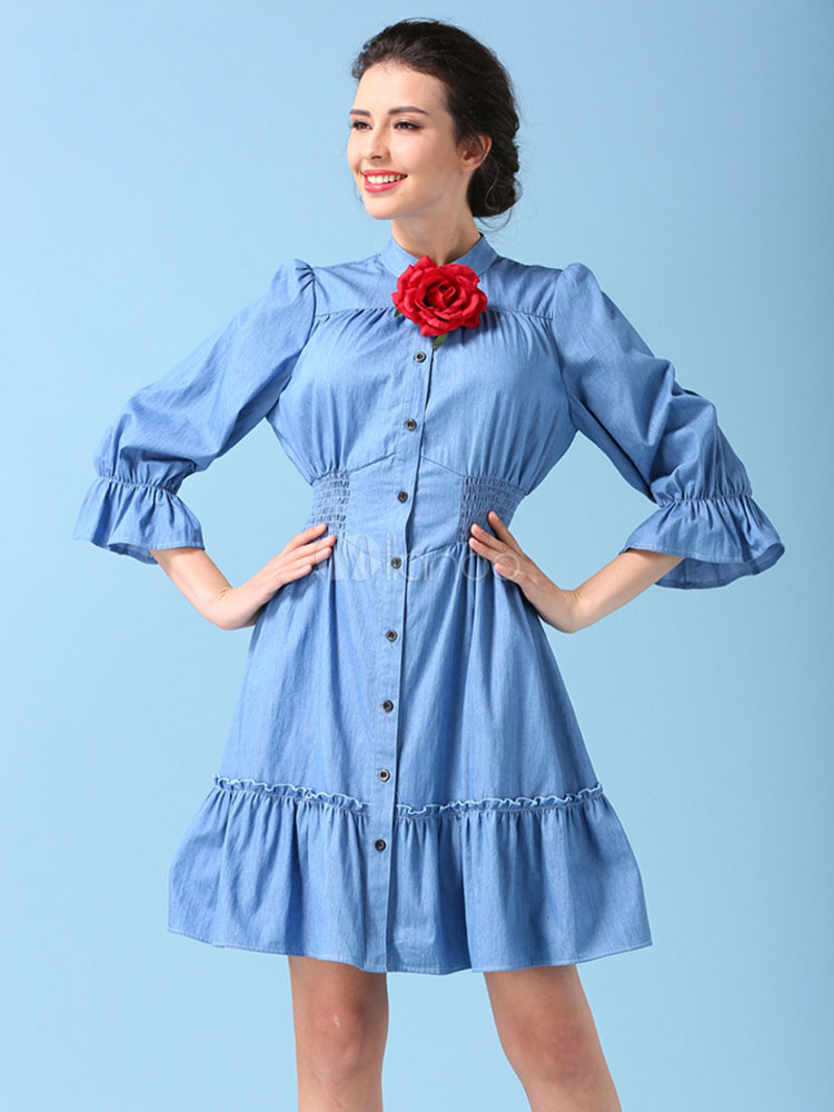 Buy Blue Skater Dress Denim Round Neck Bell 3/4 Length Sleeve Slim Fit Ruffle Hem Flare Dress for $37.02 in Milanoo store