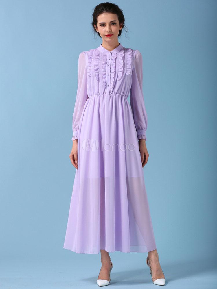 Vestido largo de chifón morado con escote redondo Color liso con ...