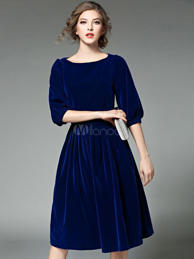 the latest 2234c c57ac Abito in velluto blu mezza manica donna scollo rotondo abito plissettato  una linea