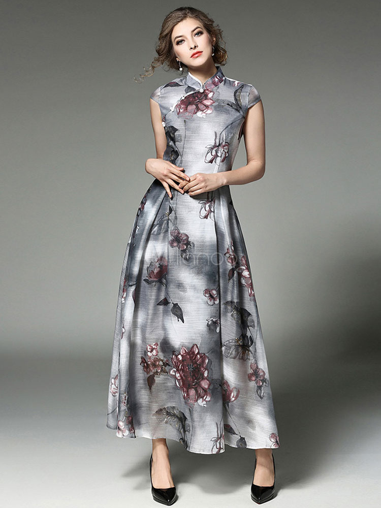 Buy Grey Maxi Dress Stand Collar Short Sleeve Printed Pleated Long Dress for $44.99 in Milanoo store