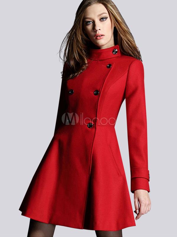 online store 0c05d fc650 Collo alto doppio petto maniche lunghe Flare abito cappotto cappotto lana  rosso donna