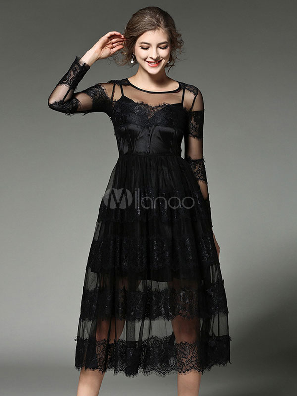Buy Black Maxi Dress Lace Patchwork Illusion Long Sleeve Women's Round Neck Semi Sheer Long Dress In 2 Pcs for $39.94 in Milanoo store
