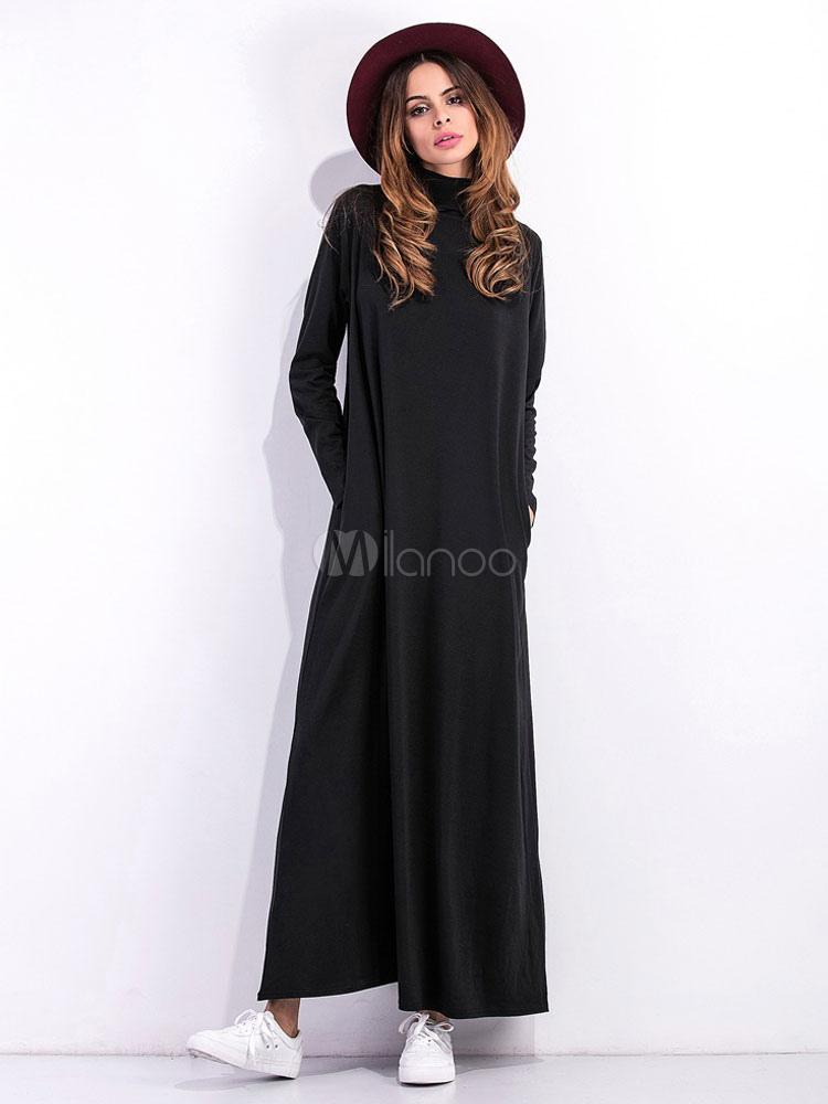 f8a9eee1d473 Maxi abito nero collo alto manica lunga cotone abito lungo per le donne-No.