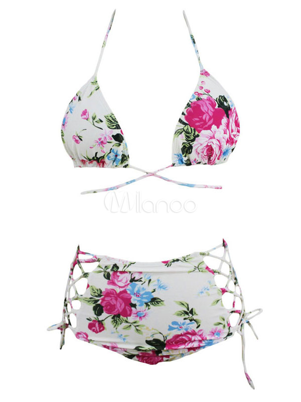Buy 2 Piece Swimsuit White Floral Printed Sleeveless Lace Up Backless High Waist Beach Swimwear for $14.44 in Milanoo store