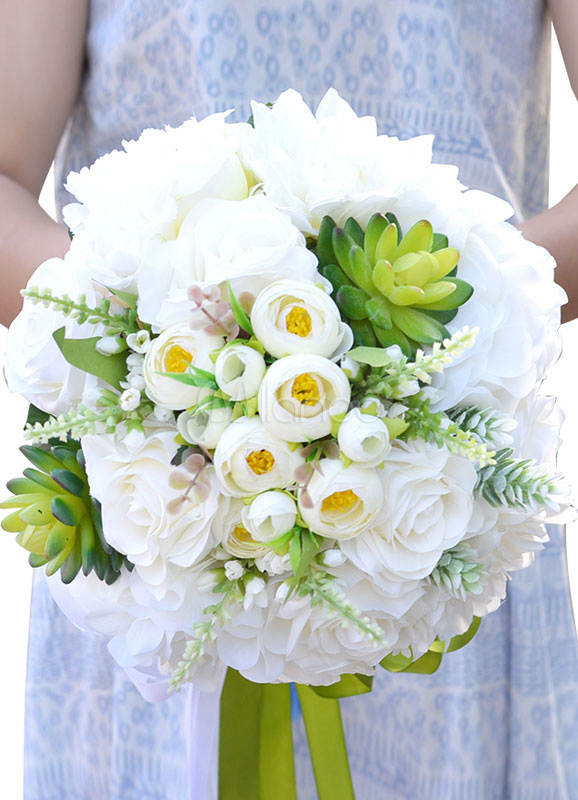 Buy Succulent Wedding Bouquet White Silk Flowers Ribbon Bow Hand Tied Bridal Bouquet for $35.99 in Milanoo store