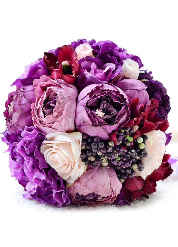 Buy Wedding Flowers Bouquet Purple Ribbons Bow Silk Flowers Bridal Bouquet for $38.69 in Milanoo store