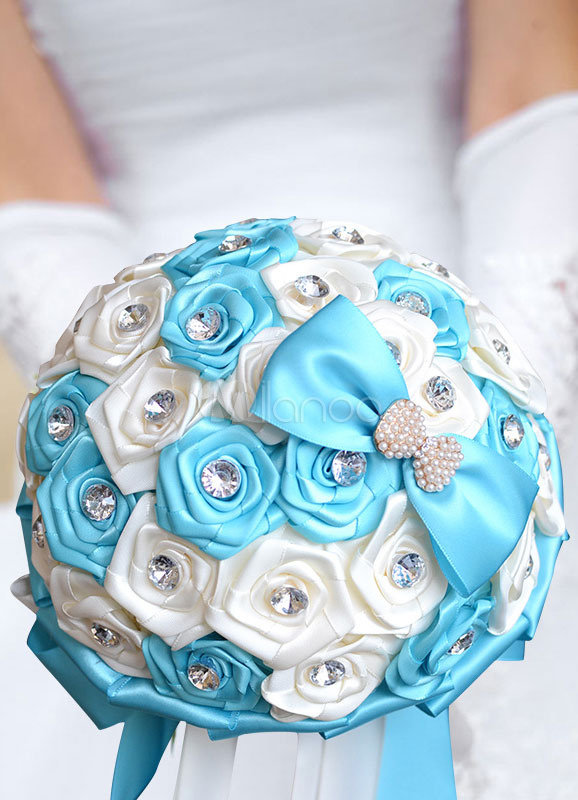 Wedding Flowers Bouquet Satin Pearls Rhinestones Beaded Ribbons Hand Tied Bridal Bouquet In Baby Blue