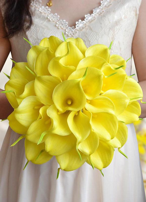 Bouquet Sposa Giallo.Giallo Nozze Bouquet Fiori Di Seta Perle Perline Nastro Archi Bouquet Da Sposa