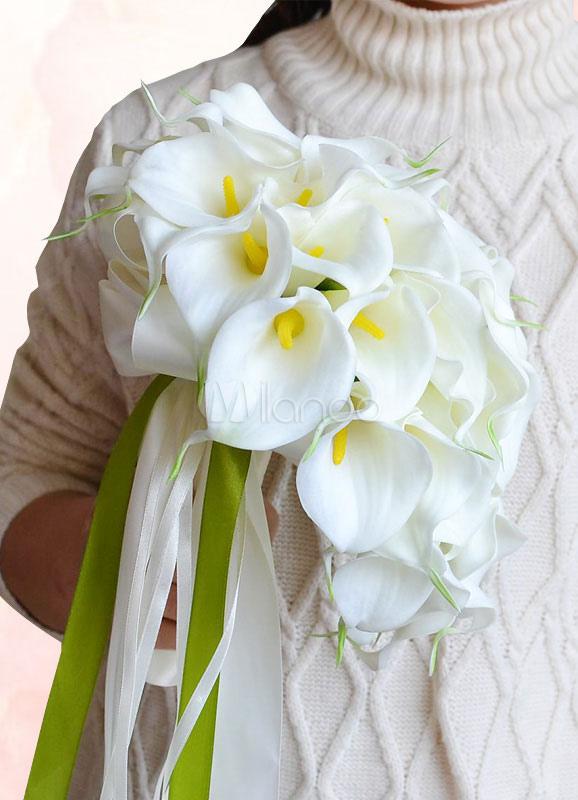 Bouquet Da Sposa A Cascata.Bouquet Da Sposa Bianco Seta Fiori Di Perline Ribbon Bow Bouquet