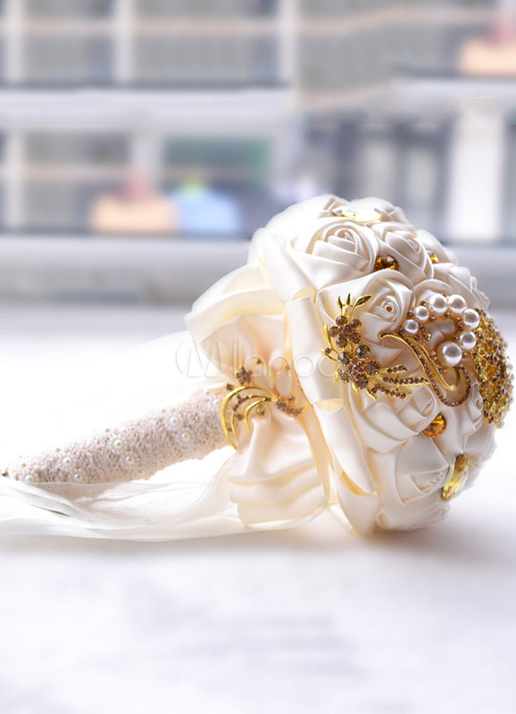 Bouquet Sposa Halloween.Wedding Bridal Bouquet Rhinestones Beaded Ribbons Hand Tied Satin