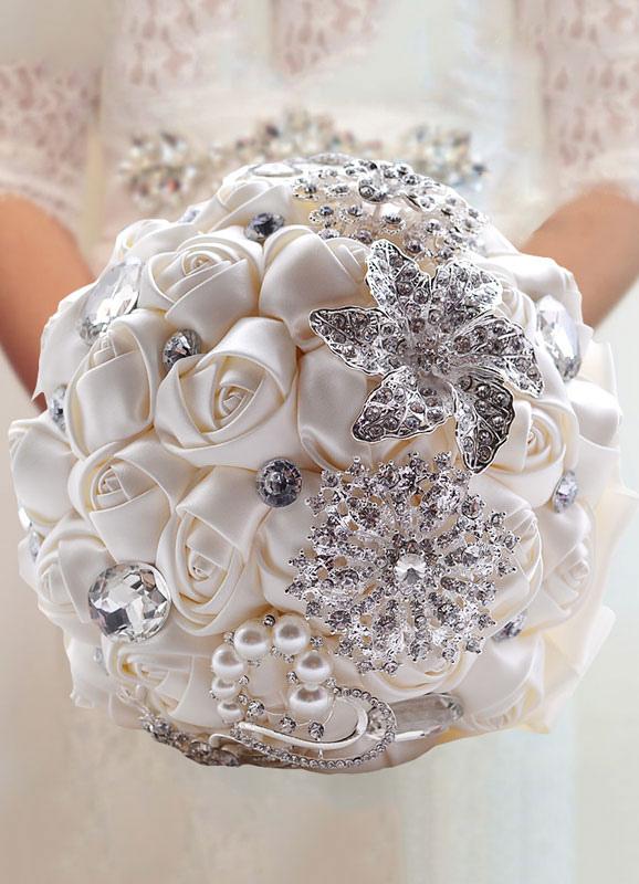 Wedding Flowers Bouquet Satin Pearls Rhinestones Beaded Ribbons Bridal Bouquet