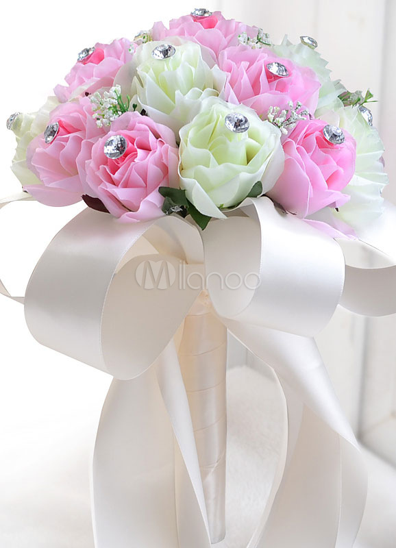 Pink Wedding Bouquet Silk Flowers Rhinestones Ribbons Hand Tied Bridal Bouquet