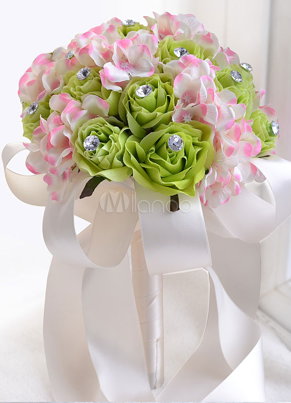 Buy Wedding Flowers Bouquet Rhinestones Beaded Hand Tied Ribbons Round Shaped Green Silk Flower Bridal Bouquet for $17.99 in Milanoo store