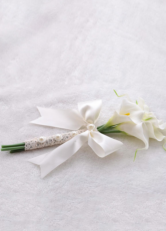 Wedding Flowers Bouquet White Pearls Beaded Ribbons Bow