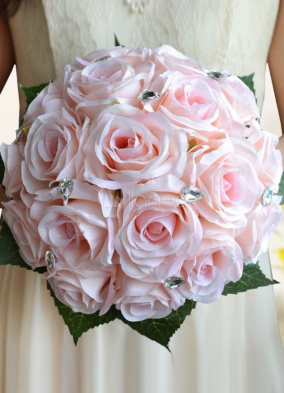 Buy Wedding Flowers Bouquet Light Pink Rhinestones Beaded Ribbons Bow Hand Tied Silk Flowers Bridal Bouquet for $25.19 in Milanoo store