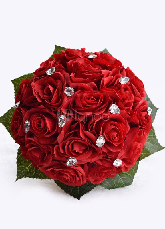Bouquet Da Sposa Rosso.Nozze Fiori Bouquet Rosso Strass Nastri Arco Mano Legato Seta