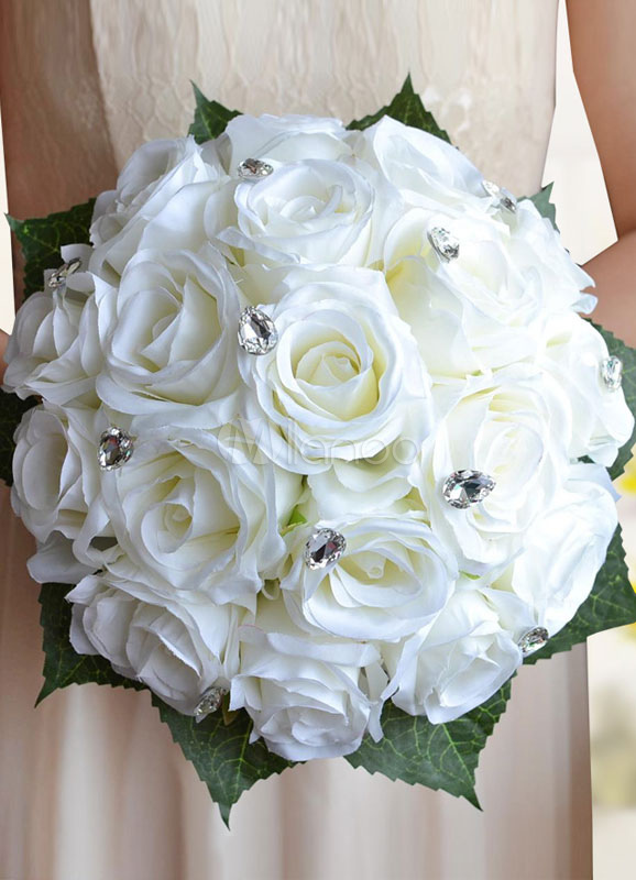 Buy Wedding Flowers Bouquet White Rhinestones Beaded Hand Tied Ribbons Bow Silk Flowers Bridal Bouquet for $25.19 in Milanoo store