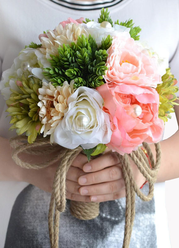Buy Wedding Flowers Bouquet Pink Pearls Hand Tied Silk Flowers Bridal Bouquet for $31.34 in Milanoo store