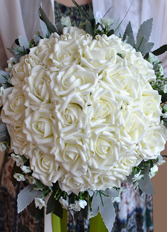 Wedding Flowers Bouquet White Ribbons Hand Tied Silk Flowers Bridal Bouquet