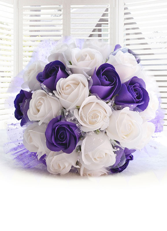 Wedding Flowers Bouquet Purple Ribbons Bow Hand Tied Silk Flowers Bridal Bouquet