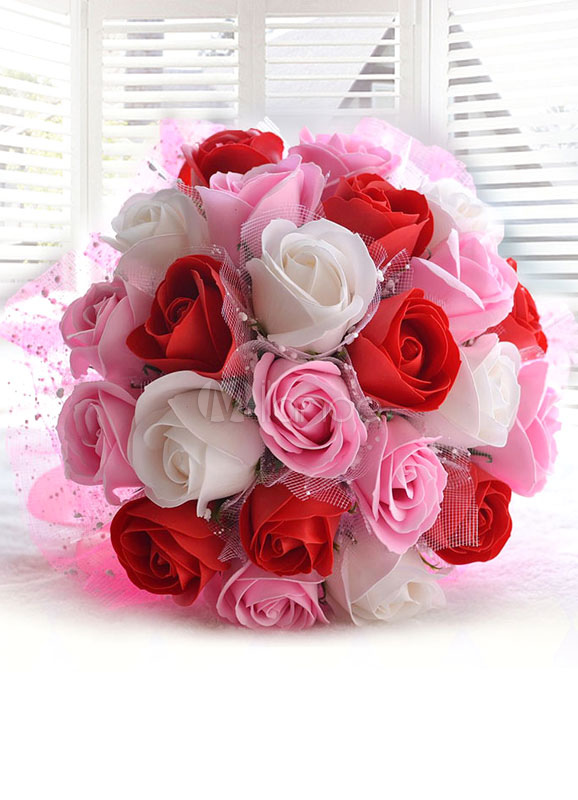 Wedding Flowers Bouquet Pink Ribbons Bow Hand Tied Silk Flowers Bridal Bouquet