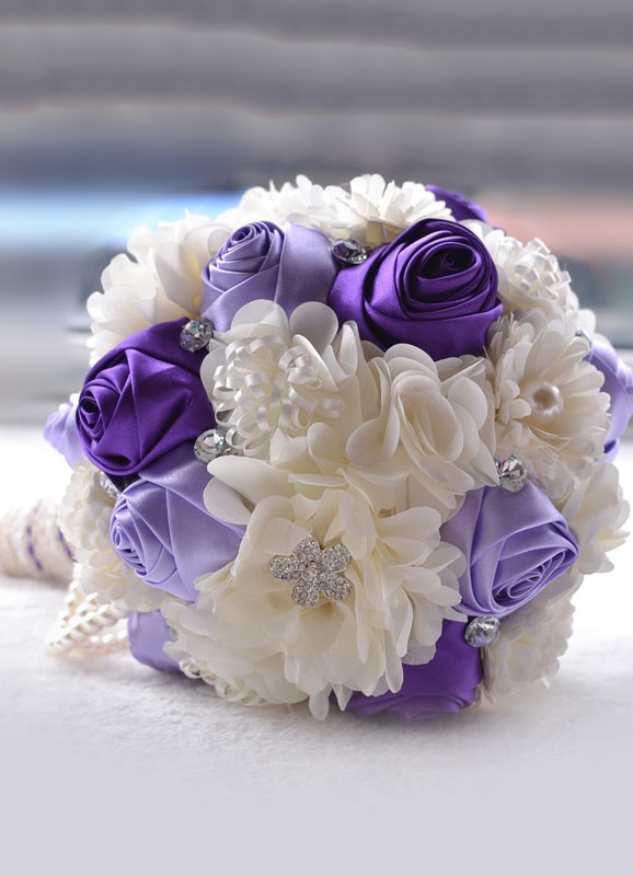 Wedding Flowers Bouquet Rhinestones Pearls Beaded Ribbons Bow Hand Tied Silk Flowers Bridal Bouquet In Purple