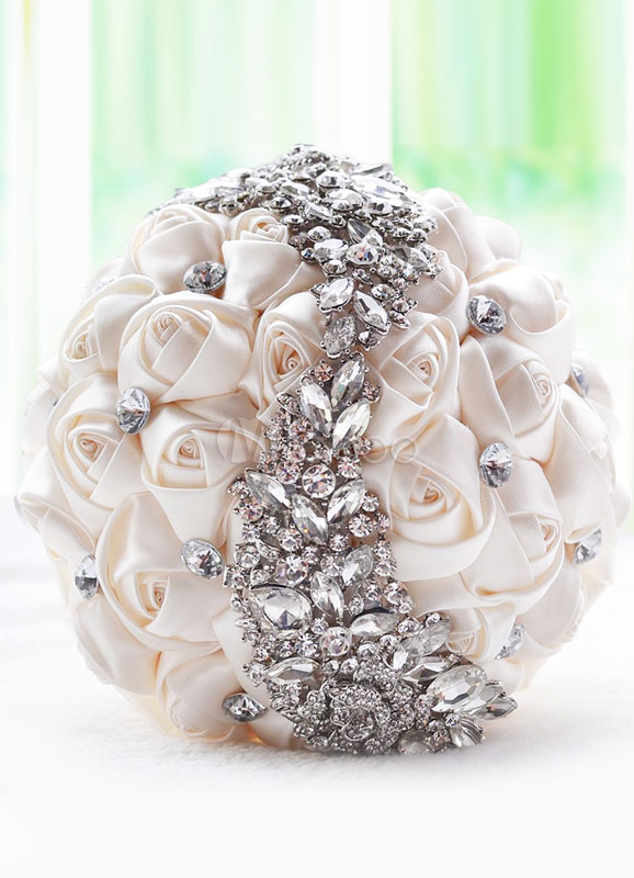 Wedding Flowers Bouquet Ivory Satin Rhinestones Beaded Ribbons Bow Hand Tied Bridal Bouquet