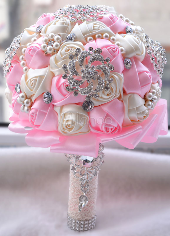 Buy Wedding Flowers Bouquet Pink Rhinestones Pearls Beaded Ribbons Hand Tied Bridal Bouquet for $40.49 in Milanoo store