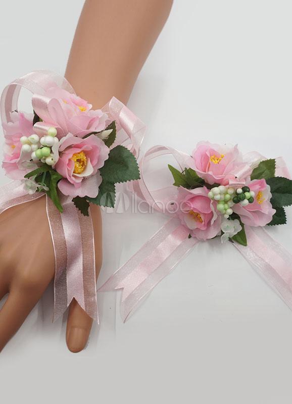 Top Matrimonio Corsage bracciale morbido fiocco rosa fiore di seta da  JO74