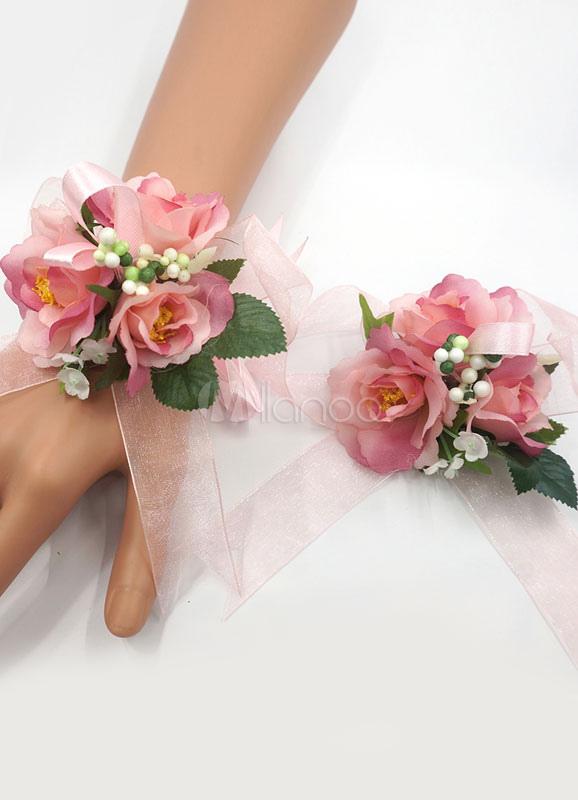 Famoso Matrimonio fiore Corsage bracciale fiocco rosa seta fiori da sposa  RR67