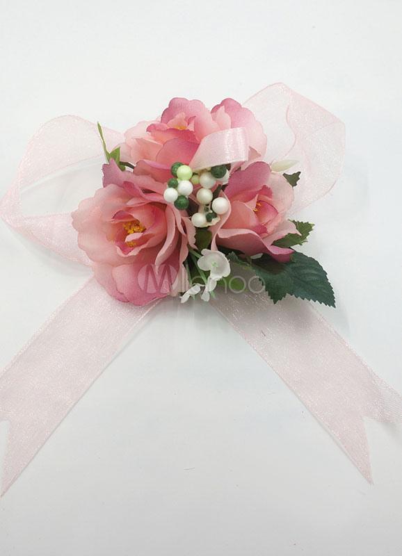 Wedding flower corsage bracelet pink bow silk flowers bridal wrist wedding flower corsage bracelet pink bow silk flowers bridal wrist corsage with brooch no mightylinksfo