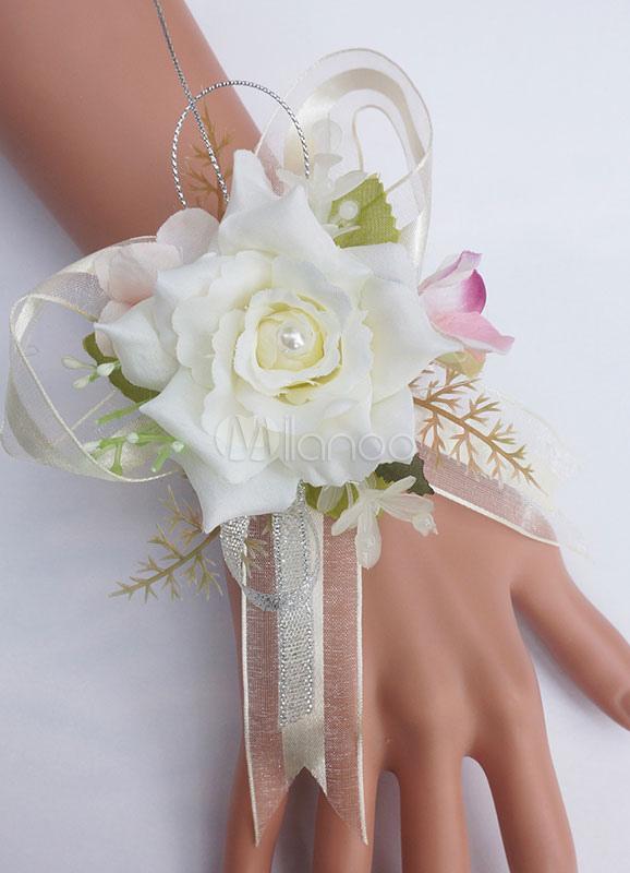 Hochzeit Blume Armband Freie Form Kunstblumen In Rot Milanoo Com