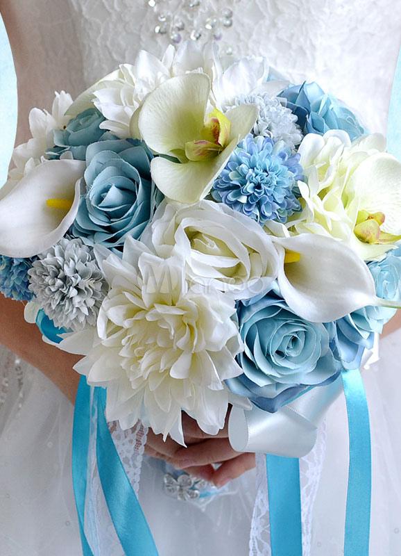 Bouquet Sposa Carta Da Zucchero.Nozze Fiori Bouquet Baby Blue Ribbons Mano Legata Bouquet Da Sposa