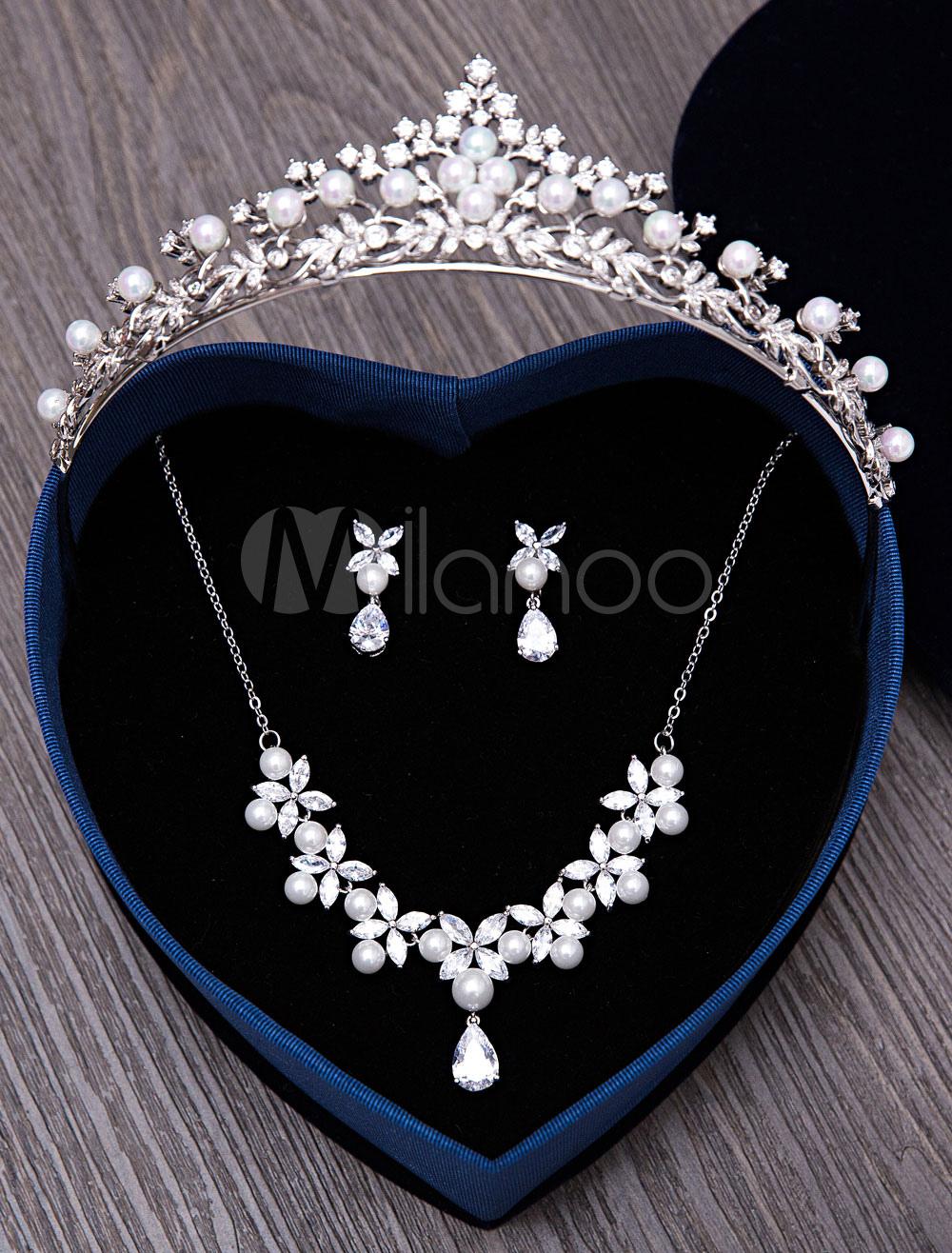 Wedding Jewelry Set Silver Pearls Rhinestones Bridal Jewelry Set In 3 Piece