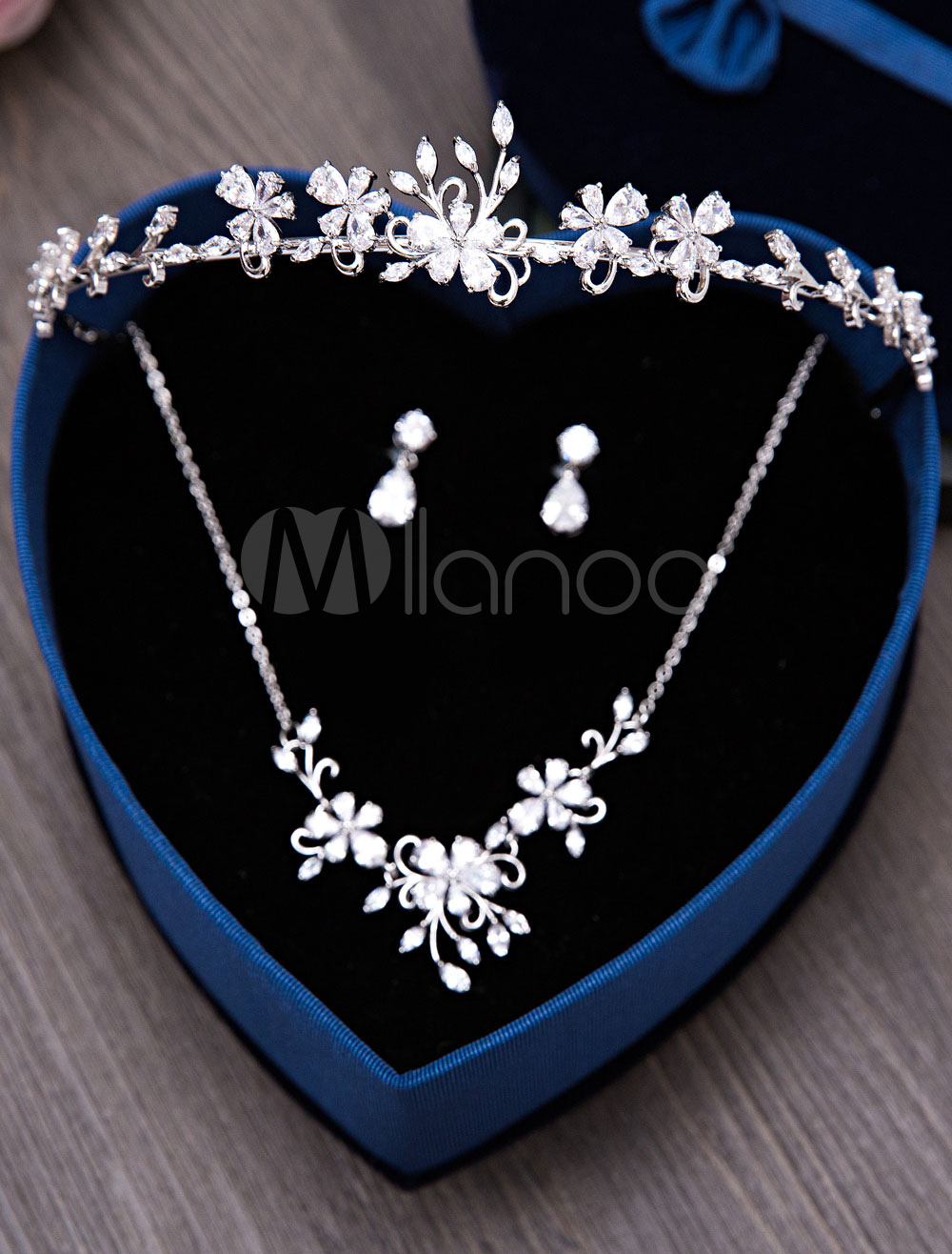 Buy Silver Wedding Jewelry Set Tiara Headpieces Beaded Bridal Necklace With Drop Earrings for $62.31 in Milanoo store